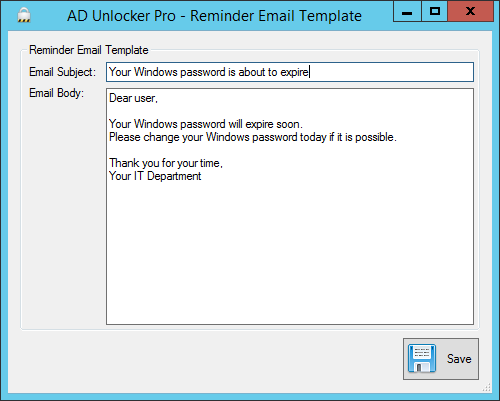 Reminder Email Template Window Screenshot